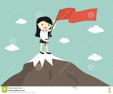 business-concept-business-woman-holding-red-flag-top-mountain-vector-illustration-77230009