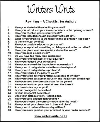 rewrite checklist writers write