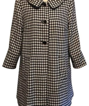 button up houndstooth coat