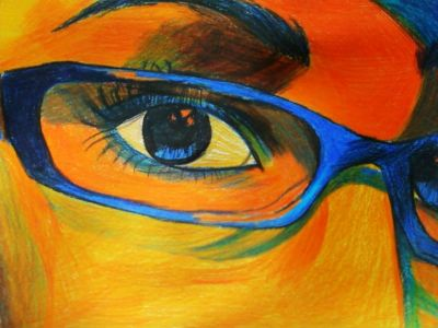 colors seven eye through glasses close up
