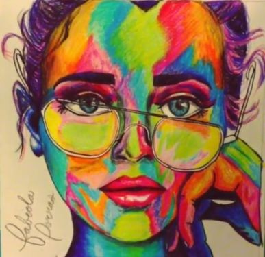 colors seven girl face in colored pencil