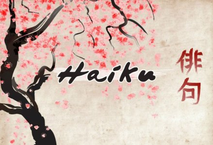 rules of three haiku with cherry blossoms