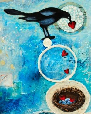 ekphrastic bird with hearts