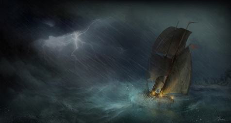 SOS sea-ship-sailing-art-storm-lightning-ocean-rain-painting