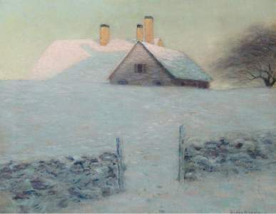 winter poems 2020 Snowy-Day-Lowell-Birge-Harrison-oil-painting