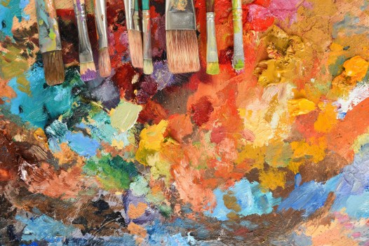 Artist Paintbrushes on Palette